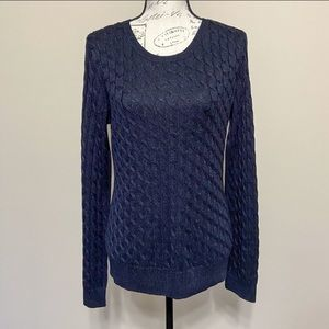 Talbots Sweaters - Talbots Silver Metallic Cable Knit Sweater